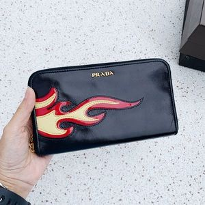 NWT Authentic Prada Leather w/ Flame Zip Wallet